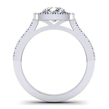 Vintage Inspired Cushion Shaped Diamond Halo Engagement Ring
