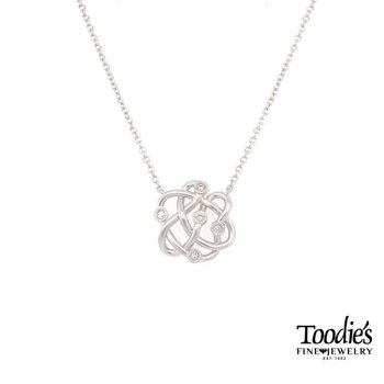 Silver and Diamond Twist Necklace