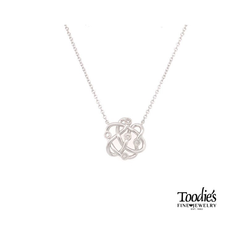 Gabriel Fashion Silver and Diamond Twist Necklace