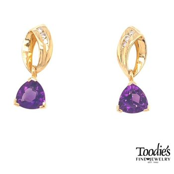 Amethyst And Diamond Drop Earrings