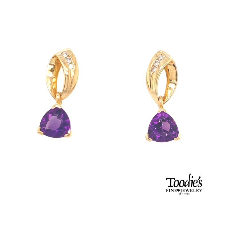 Toodie's Signature Fashion Amethyst And Diamond Drop Earrings
