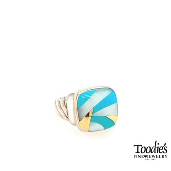 Turquoise And White Mother Of Pearl Inlaid Style Fashion Ring.