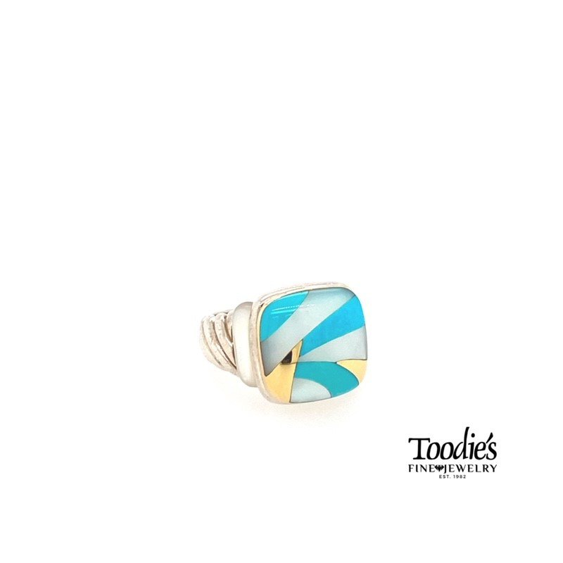 Asch Grossbardt Designs Turquoise And White Mother Of Pearl Inlaid Style Fashion Ring.