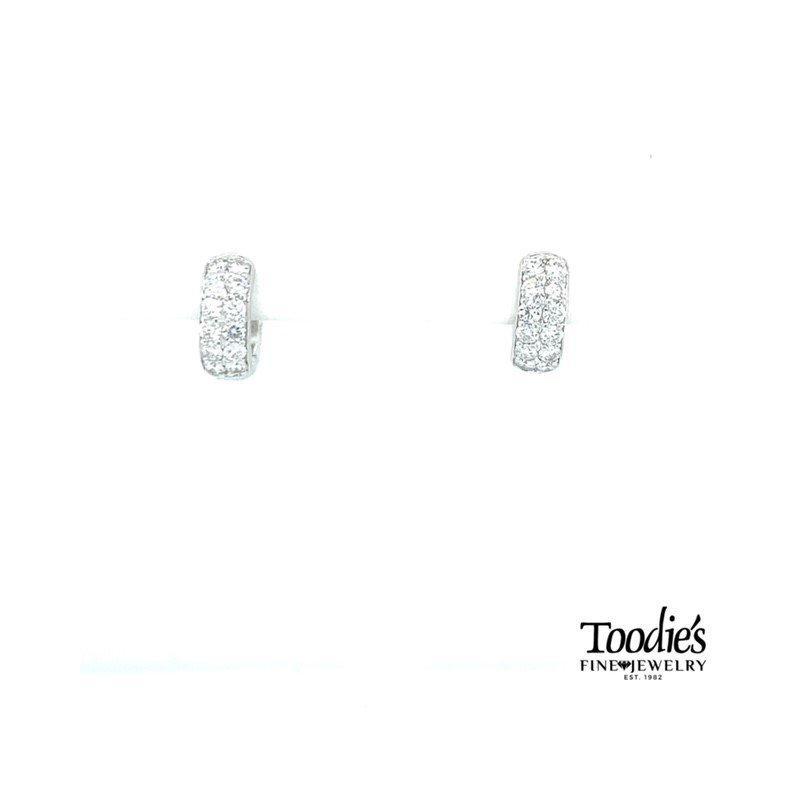 Toodie's Signature Fashion Diamond Pave' Huggie Hoop Earrings