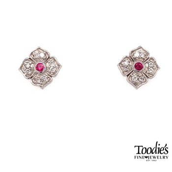 Ruby And Diamond Vintage Halo Earrings