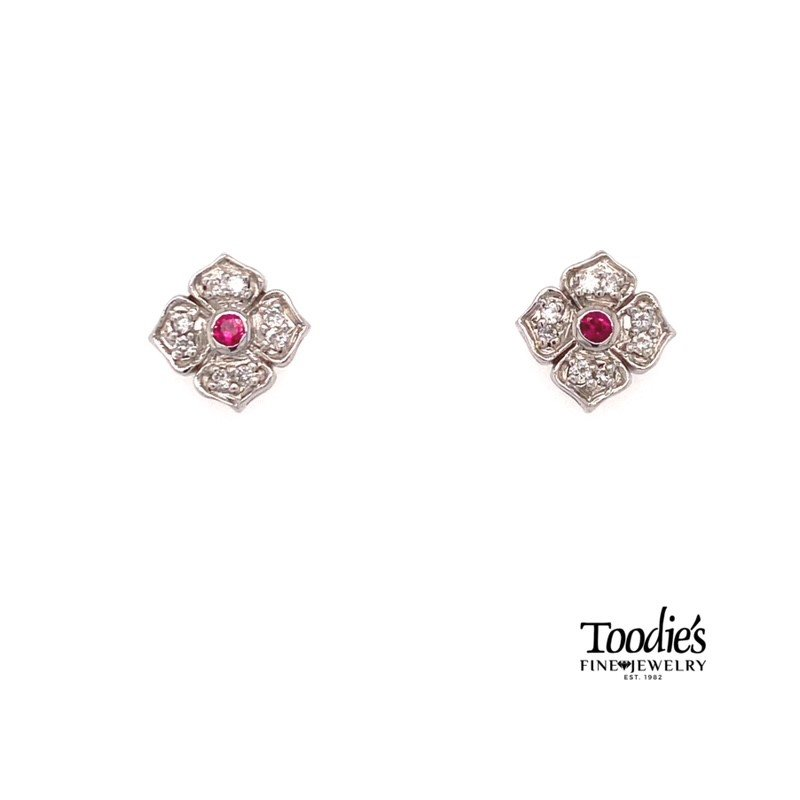 Toodie's Signature Fashion Ruby And Diamond Vintage Halo Earrings