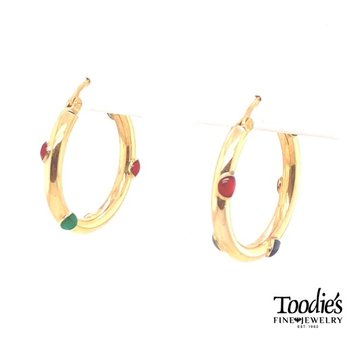 Gold Speckled Enameled Hoop Earrings