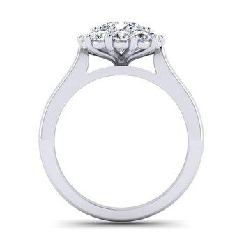 Flowery Design Diamond Halo Engagement Ring
