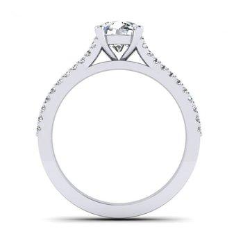 Double Row Split Shank Design Diamond Engagement Ring