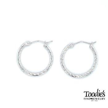 Diamond Cut Twisted Hoop Earrings