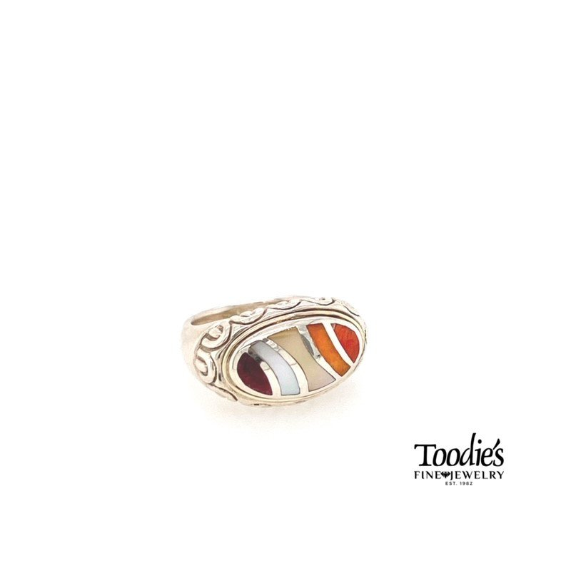 Asch Grossbardt Designs Rainbow Mother Of Pearl Ring