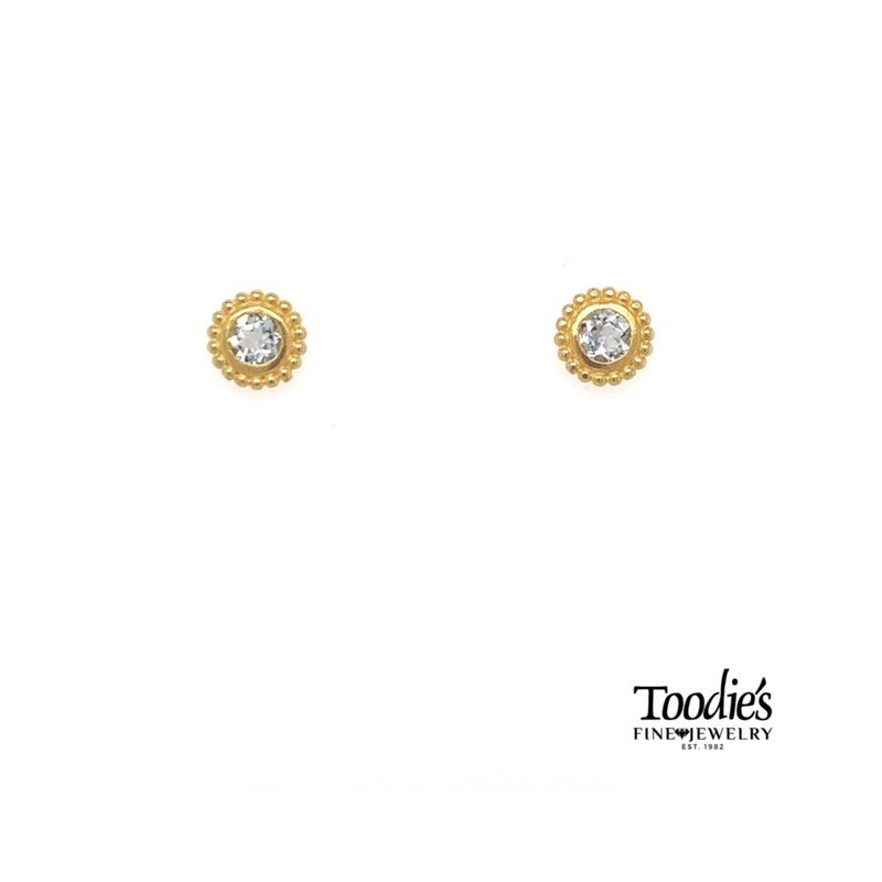 Popcorn Bezel Aquamarine Earrings