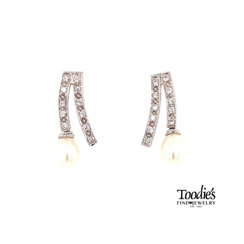 Toodie's Signature Fashion White Sapphire and Pearl Drop Earrings