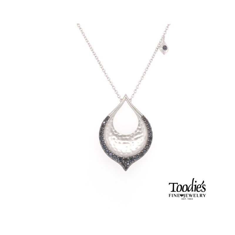 Silver and Black Spinel Drop Medallion