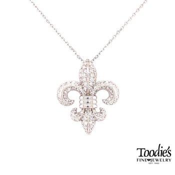 Diamond Pave Fleur De Lis Pendant