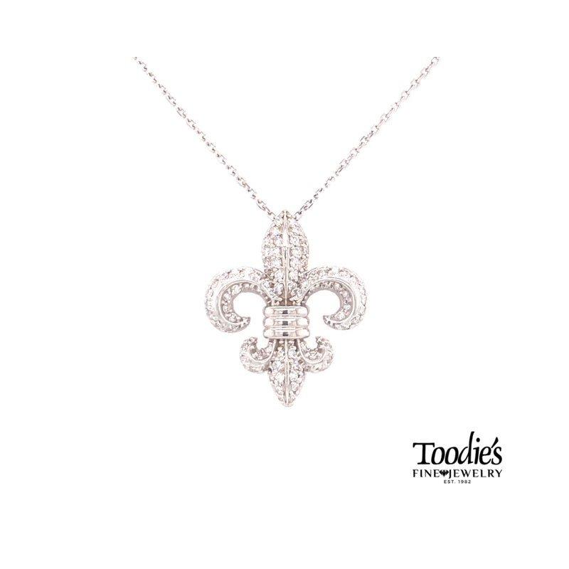 Toodie's Signature Fashion Diamond Pave Fleur De Lis Pendant