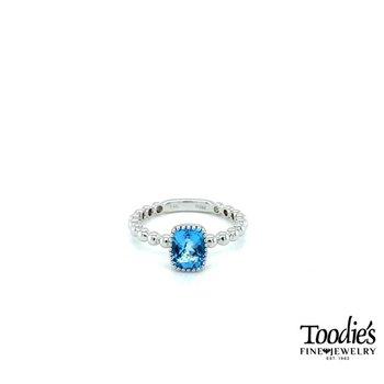 Cushion Blue Topaz Solitaire Ring