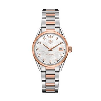 Ladies Carrera Steel and 18k Rose Gold White Mother of Pearl Diamond Dial Watch