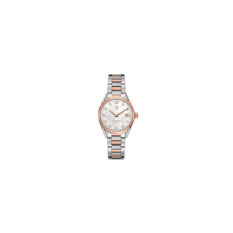 TAG Heuer Ladies Carrera Steel and 18k Rose Gold White Mother of Pearl Diamond Dial Watch
