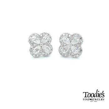 Clover Design Diamond Earrings