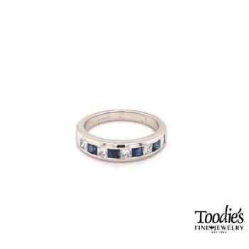Diamond And Sapphire Princess Channel Set Ring