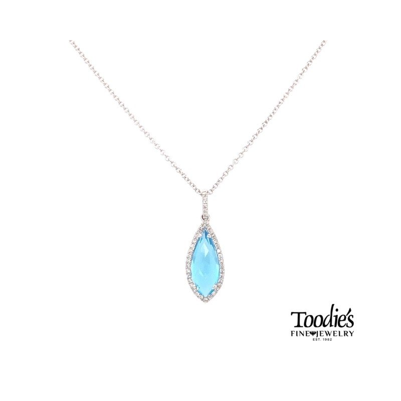 Toodie's Signature Fashion White Gold Blue Topaz And Diamond Necklace