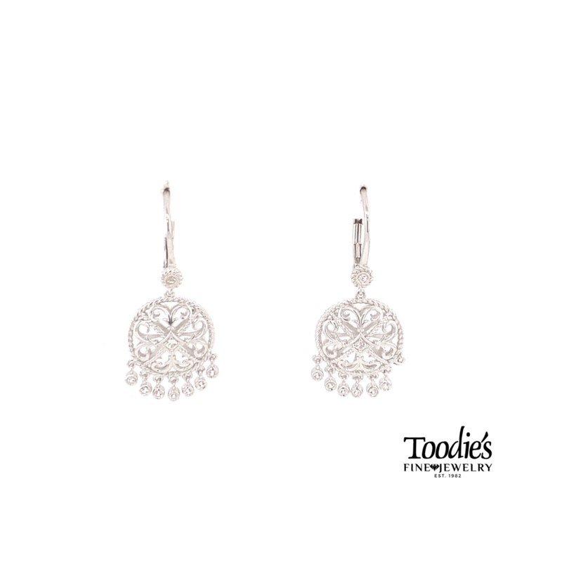 Gabriel Fashion Sterling Silver Filagree White Sapphire Earrings
