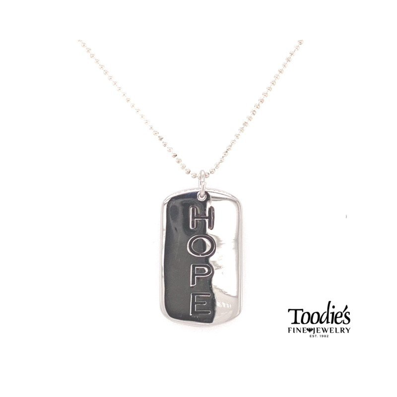 """Toodie's Signature Fashion Hope """"Dog Tag"""" Style Necklace"""