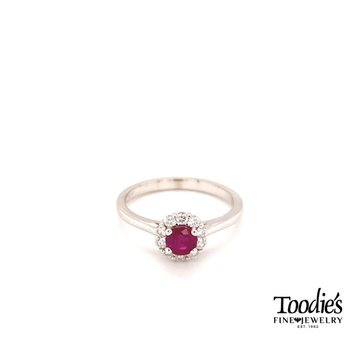 Ruby And Diamond Cocktail Style Design Ring
