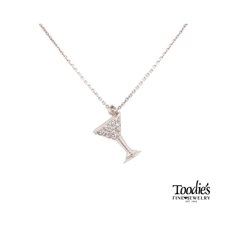 Toodie's Signature Fashion Mini Martini Glass Diamond Pendant