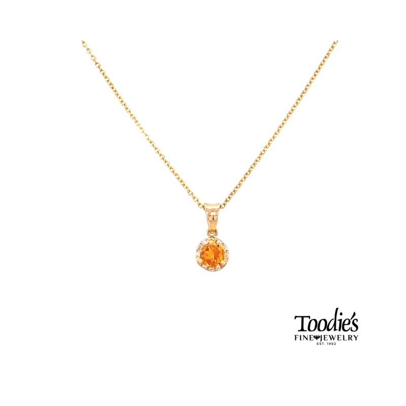 Toodie's Signature Fashion Yellow Gold Citrine And Diamond Necklace