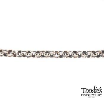 Silver Textured Round Link Bracelet