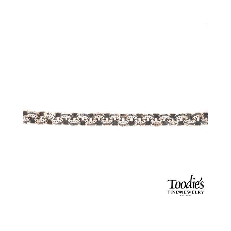 Phillip Gavriel Silver Textured Round Link Bracelet