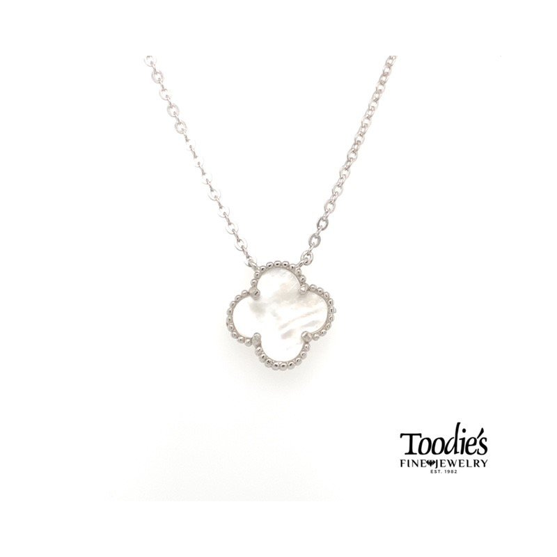 Toodie's Signature Fashion Designer Inspired Mother of Pearl Clover Pendant