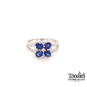 Sapphire & Diamond Floral Design Ring