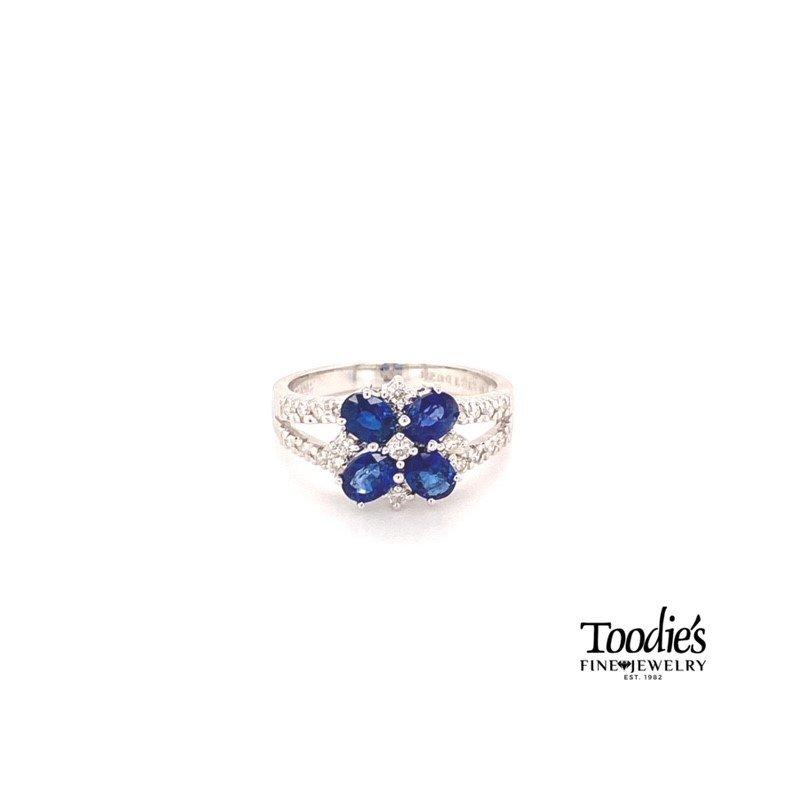 Toodie's Signature Fashion Sapphire & Diamond Floral Design Ring