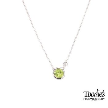 Peridot and Diamond Bezel Set Necklace