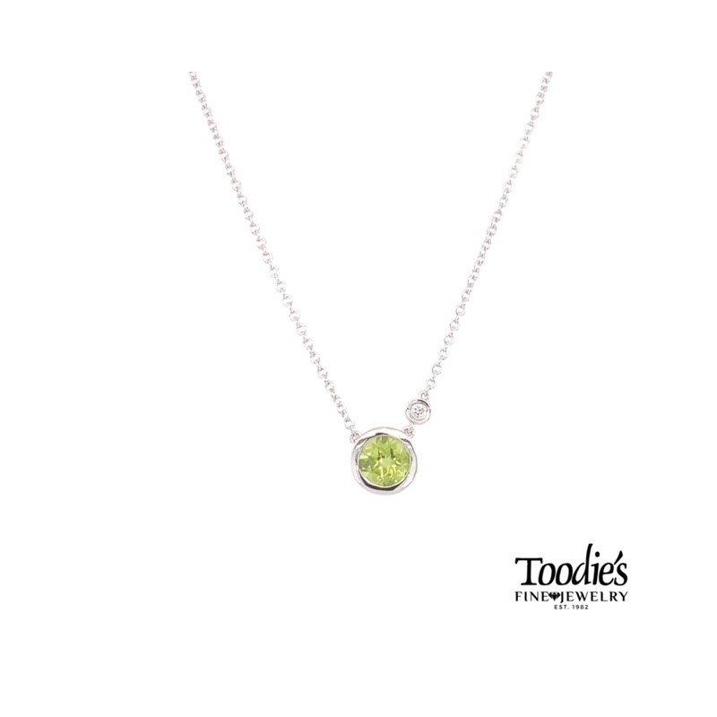 Gabriel Fashion Peridot and Diamond Bezel Set Necklace