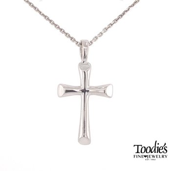 Half Round Flair Cross Necklace