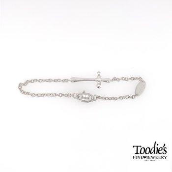 Silver Sideways Cross and Faith Charm Bracelet