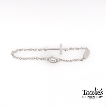 Silver Sideways Cross and Faith Charm Bracelet