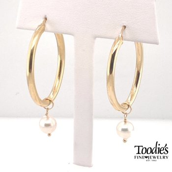 Freshwater Pearl and Gold Hoop Earrings