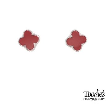 Sterling Silver Carnelian Mini Clover Studded Earrings.
