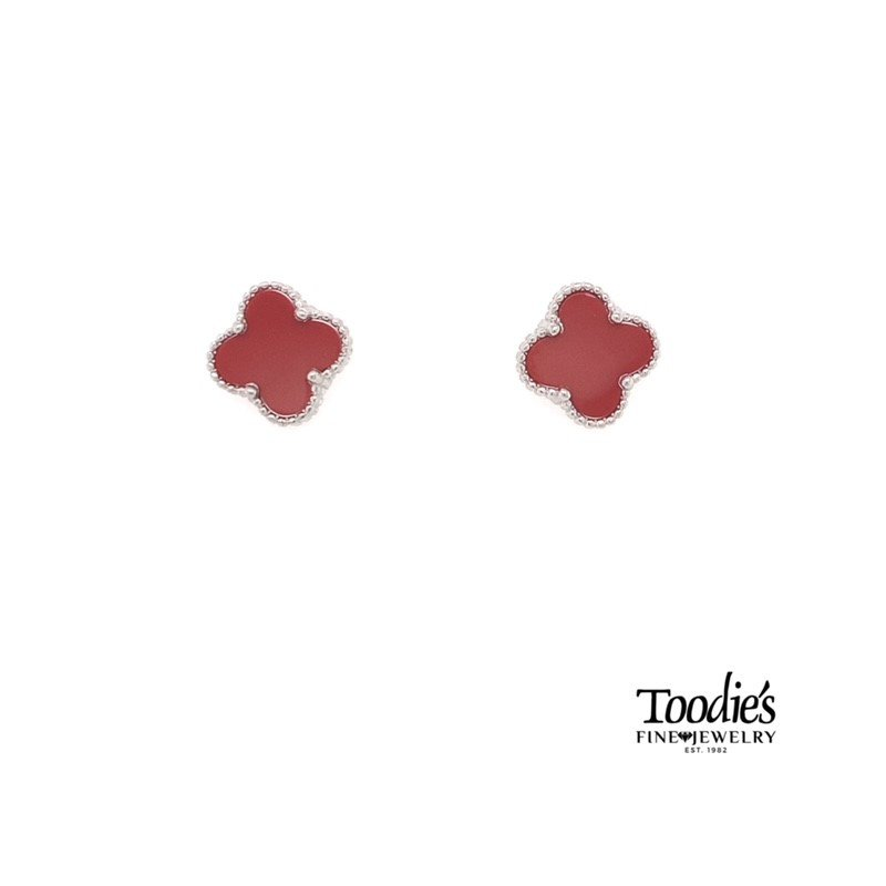 Toodie's Signature Fashion Sterling Silver Carnelian Mini Clover Studded Earrings.