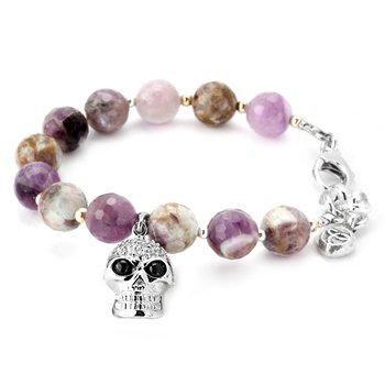 Amethyst And Cubic Skull Bracelet