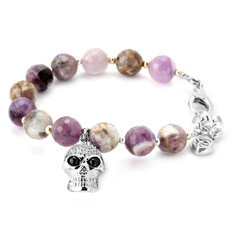 Elisa Ilana Amethyst And Cubic Skull Bracelet
