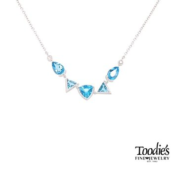 White Gold Dancing Blue Topaz Necklace