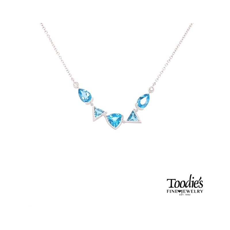 Toodie's Signature Fashion White Gold Dancing Blue Topaz Necklace