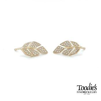 Leaf Design Studded Earrings