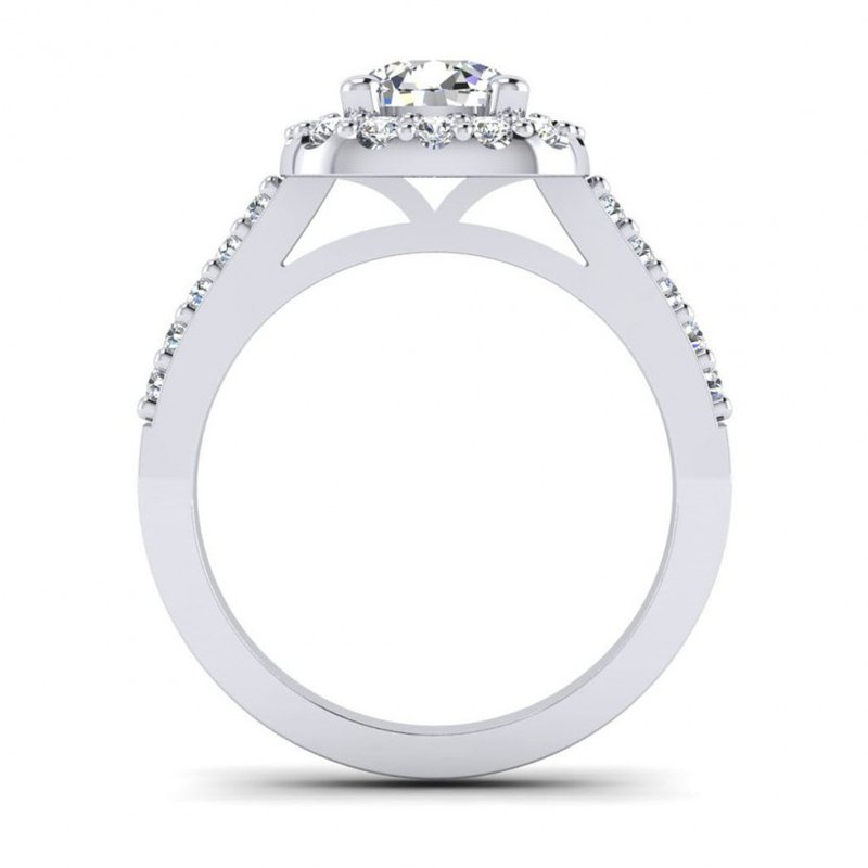 Cushion Shaped Diamond Halo Engagement Ring